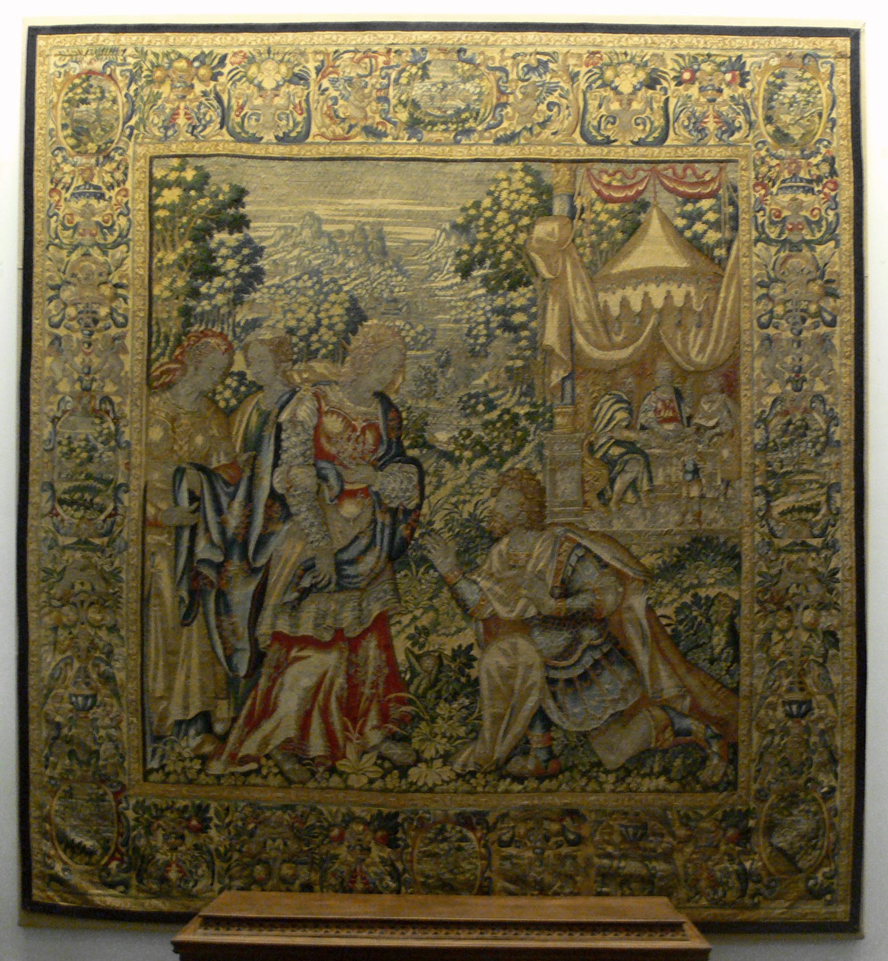Königin Esther und Haman auf einem Bildteppich