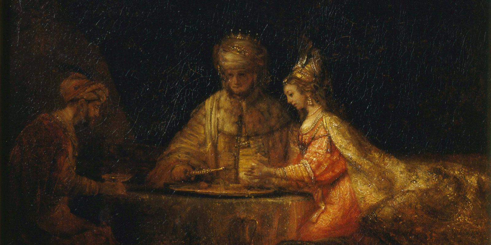 Königin Esther von Persien mit König Xerxes und Haman